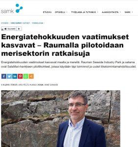 Kuvakaappaus SAMKin nettisivujen uutisesta, kuvassa SeaSide industry parkin toimitusjohtaja.