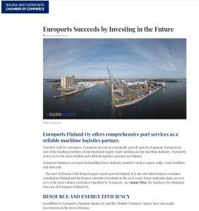 Screenshot of the magazine article., includes a photo of port of Rauma.