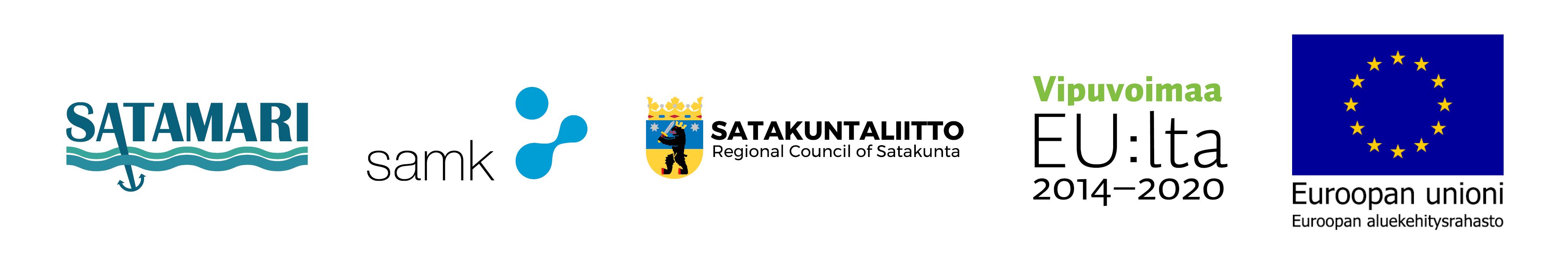 Logos: SataMari, SAMK, Regional Council of Satakunta, Leverage from EU, European Regional Development Fund