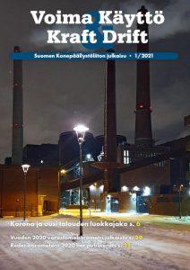 Lehden kansi, jossa kuva tehtaasta, jossa korkeat piiput.